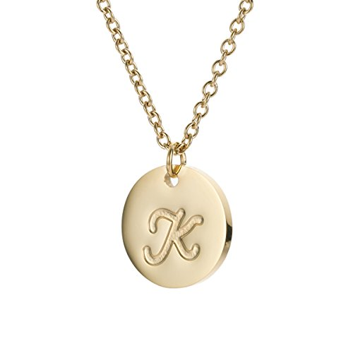 - HUAN XUN Stainless Steel Best Friend Necklaces Letter Pendant Disc Initial K
