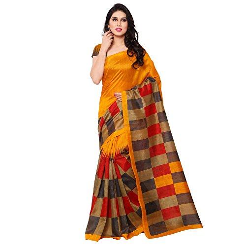 Jaanvi-Fashion-Womens-Checkerd-Yellow-Bhagalpuri-Silk-Printed-Saree