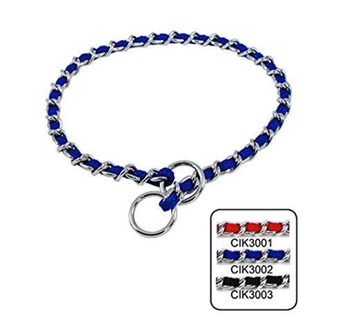 (Strimm Metal Dog Chain Collar Slip Martingale Training Choker with Nylon Webbing Woven- Blue)