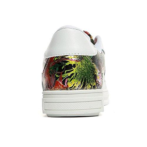 Flat Decorazioni Fashion Lace Uomo Scarpe Floral Up 44 Close Da Heel shoes color Eu Dimensione Metal Design Toe Yajie White Strips black Sneaker xqv6wtYgI