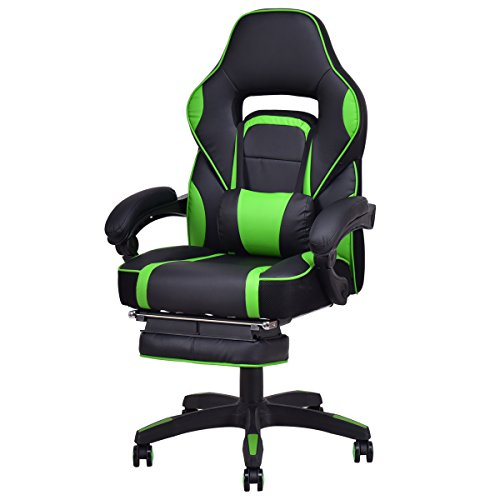 Giantex Gaming Chair Racing Chair Ergonomic High-Back with Footrest and Lumbar Support Adjusting Swivel Executive Office Desk Gaming Chair (Green) by Giantex
