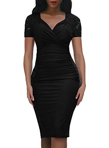 Pannello Vestito Donne Nero Increspato Formale Aderente Delle Domy Tubino Pizzo 1 Floreale xR68AR