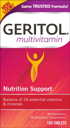 Geritol Multi-Vitamin Nutritional Support Tablets, Balance of 26 essential vitamins and minerals, 100-Count Bottles (Pack of 2)