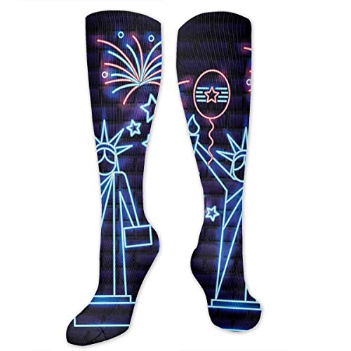 SARA NELL Knee High Socks American Statue of Liberty Compression Socks Sports Athletic Socks Tube Stockings Long Socks Funny Personalized Gift Socks for Men Women -