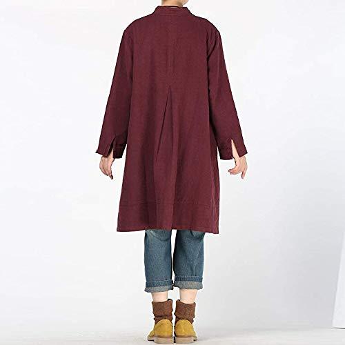 en Longues Femme Chemisier Chic Shirt Vin Bouton Du Chemise de Manches pour Femme Beikoard Poche Chemisier T Coton Unie Tops de Couleur 0w6FTwxq