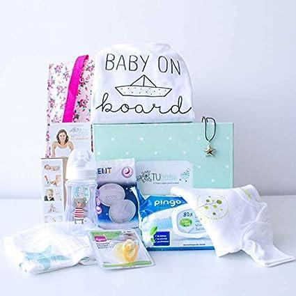 Caja regalo embarazada original - Cesta regalo embarazada y recién nacido unisex - Incluye regalos mamá