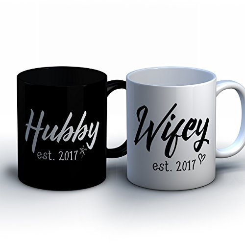Personalized Husband and Wife Coffee Mugs - Custom Hubby and Wifey Names - With Customizable Wedding Date - Cute Wedding and Anniversary (Dude Date Halloween)