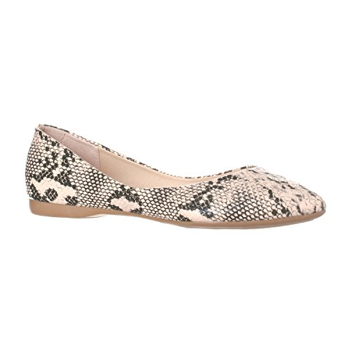 (Riverberry Women's Ella Basic Closed Pointed Toe Ballet Flat Slip On Shoe, Beige Python, 6)