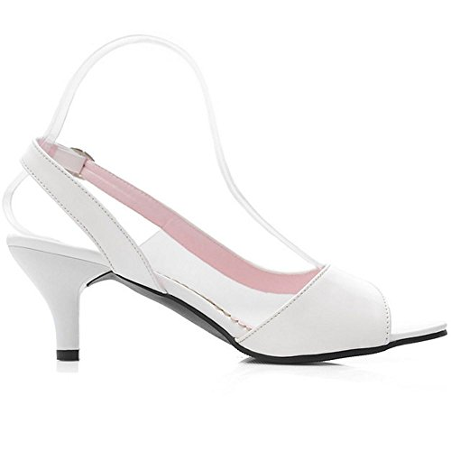 COOLCEPT Mujer Mini Tacon Sandalias Peep Toe Al Tobillo Transparent Zapatos for Verano Blanco