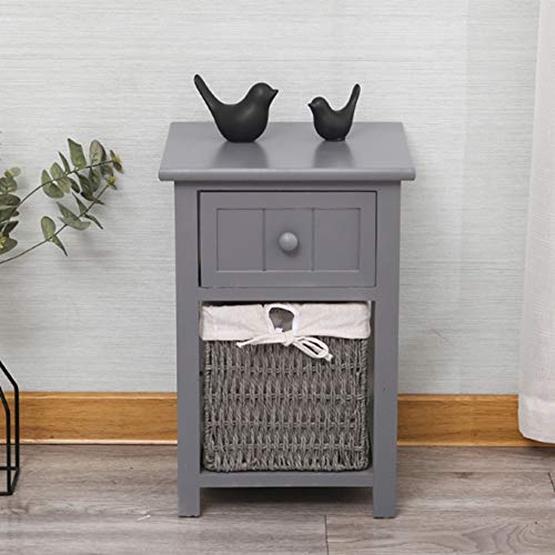 (NAN Liang White Shabby Chic Style Wooden Bedside Cabinet Table Assembled Basket Storage Bathroom Bedroom (45cm (H) x 28cm (W) x 31cm (D) - 17