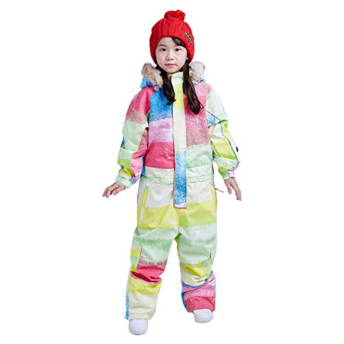 Girls' One Piece Snowsuit - Children's One Piece Snowsuit (140, Rainbow)