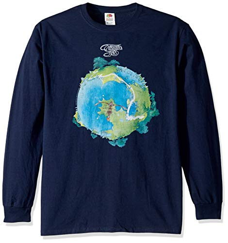 (Liquid Blue Unisex-Adult's Yes Fragile Album Cover Long Sleeve Graphic Tee, Navy, Large)