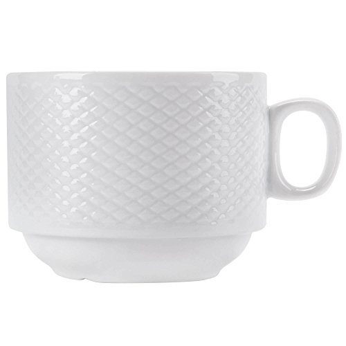 TableTop King BST-1-S Boston 8 oz. Super Bright White Embossed Porcelain Stacking Cup - 36/Case ()