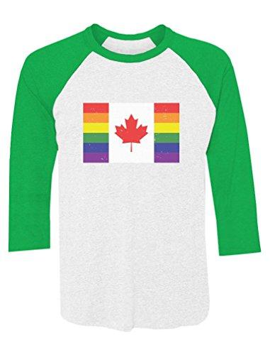 Raglan Gay Rainbow Flag - Tstars Pride Parade Gay & Lesbian Pride Rainbow Canada Flag 3/4 Sleeve Baseball Jersey Shirt Small Green/White