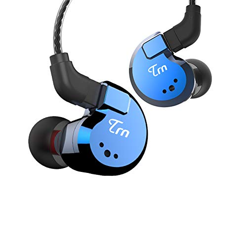 hellodigi TRN V80 2BA+2DD Hybrid in Ear Earphone,Quad Driver HiFi Monitors Dynamic Headphone,Super Bass with Detachable 0.75mm 2pin Cable,Blue