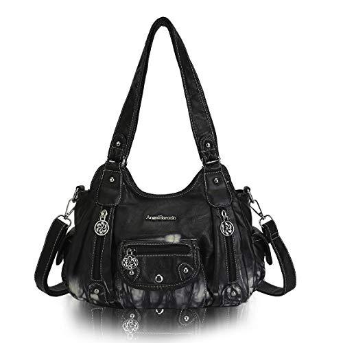 Angel Barcelo Womens Washed Leather Handbag Shoulder Bag