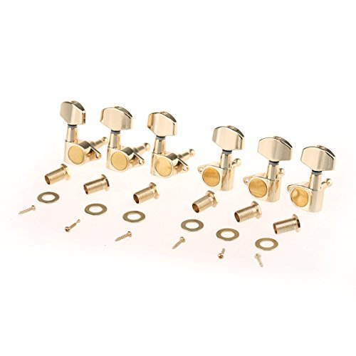 Musiclily Pro 3+3 Epi Style Sealed Tuning Pegs Tuning Machines Tuners Set for Les Paul Style Electric Guitar, Big Button Gold