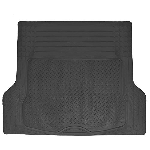 BDK Universal Fit Trimmable Heavy Duty Diamond Plate Cargo Trunk Mat – (Black)