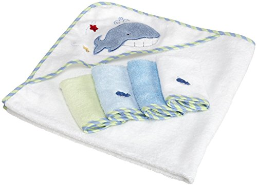 Hooded Towel & 4 Washcloth Set, Blue Whale