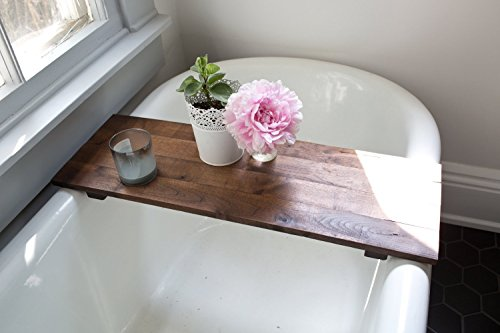 Rustic Wooden Bathtub Tray - Walnut Bath Tub Caddy Wood Clawfoot Tub Shelf Desk Board Handmade
