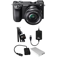 Sony Alpha A6500 Mirrorless Camera with 16-50mm f/3.5-5.6 OSS Zoom Lens - Bundle Case Relay Camera Power System, Relay Camera Coupler, Tether External Battery Pack, Tether Tools StrapMoore Power Brick