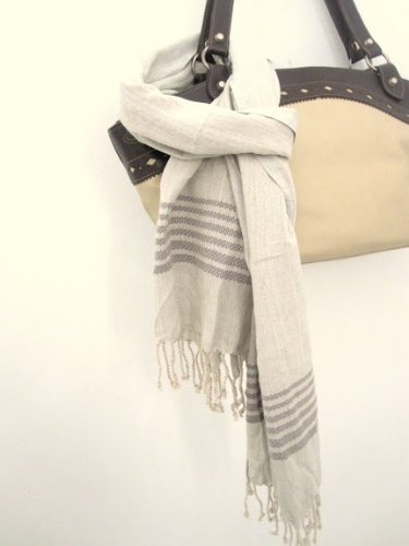 french linen scarf extra-soft stola handfinished grey with discrete grey embroidery