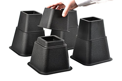 Black Bed Risers - Home-it Adjustable Bed Risers or Furniture Riser bed lifts in Heights of 8, 5 or 3 Inches Heavy Duty Set of 4 bed riser
