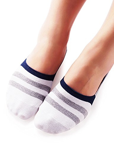 vero-monte-4-pairs-womens-striped-cotton-no-show-liner-socks-white-black-35963
