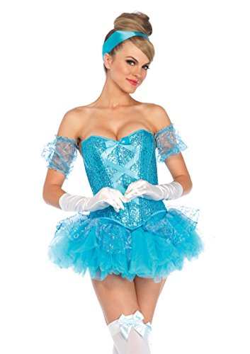 Leg Avenue Women's 5 Piece Cinderella Costume, Aqua, Large -
