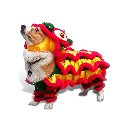 AUOKER Dog Costume Lion Dance Costume, Chinese New Year Style Costume Lion Dance Dragon Dancec Clothing, Cute Lion Head Dance Cloth for Pet Dog Chritmas Costume - S (Best Chinese Lion Dance)