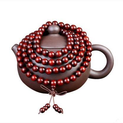 8mm 108 Natural India Lobular Red Sandalwood Full Star Beads Buddhist Prayer Mala Necklace Bracelet