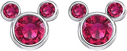 Ruby July Birthstone Mickey Mouse Stud Earrings In 14K Gold Over Sterling Silver