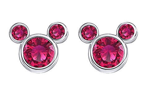 Simulated Ruby Mickey Mouse Stud Earrings in14K Gold Over Sterling Silver