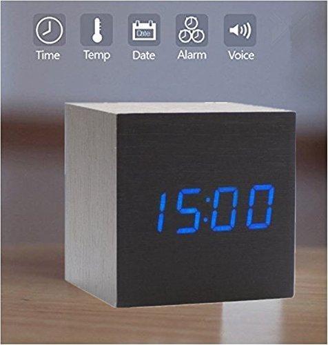 (sdber® Fashion Cube Mini Black Wood Grain Blue LED Light Alarm Clock with Time and Temperature Display & Sound Control)