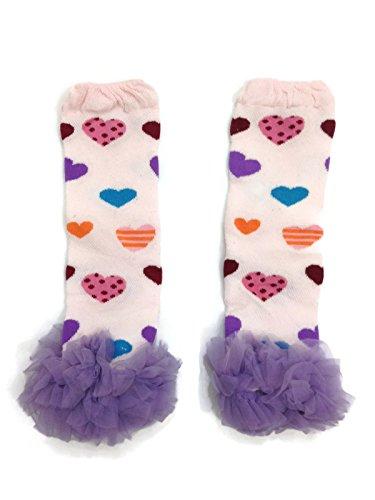 Pink Purple Heart Leg Warmers For Girls (Rush Dance Valentine's Day Chiffon Ruffles Love Hearts Baby/ Toddler Leg Warmers (One Size, Light Pink & Purple Ruffles))