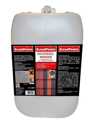 5 Litre dachziegel-reiniger Tile Cleaner Canister Removes Moss Verdigris etc. by Roof Bird Droppings Brick Cleaning of Roofer Carpentry Roofing Products Agents Green Growth Weather Deposits Concrete CleanPrince CP400190-5000-1