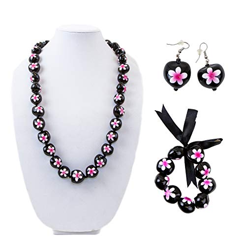 - Hawaiian Plumeria Jewelry Set -Necklace, Bracelet, Earring for Luau Party, Graduation, Birthday. Made with Real Kukui Nut Lei with Hand Painted Flower, Tropical, Orchid Decoration (Pink 3 Piece Set)