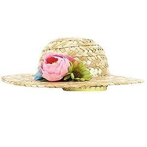 Wildgirl Cute Pet Dog Cat Sunhat Accessory Straw Plaited Cap Hat (S, Big Flower)