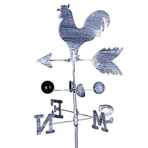 (zenggp Wrought Iron Cockerel Rooster Weather Vane Wind Speed   Spinner Garden Weathervane)