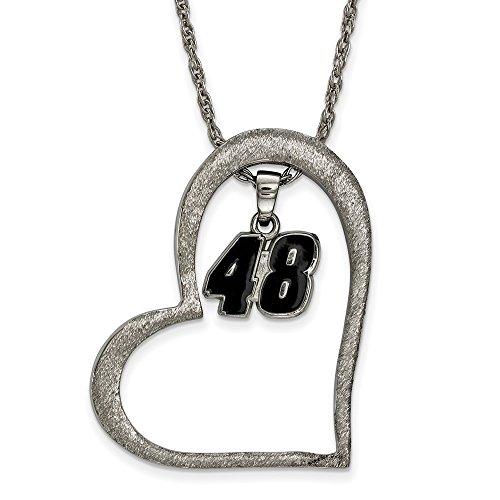 Stainless Steel Women's 48 Jimmie Johnson NASCAR Jewelry Pendants & Charms 30 mm 18 in Heart Enamel 48 Dangle Pendant Necklace