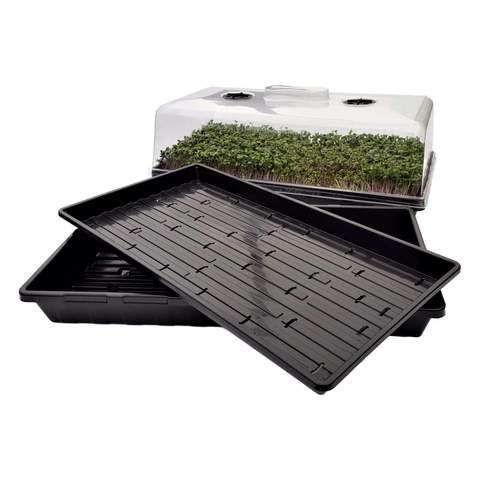 Bootstrap Farmer Microgreen Tray Hobby Starter Bundle 2 of Each - Extra Strength Microgreen Tray with Holes, Shallow 1020 No Holes, and Humidity Domes ()