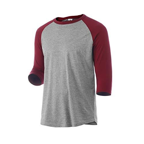 Rich Cotton Raglan T-Shirt (M, Grey/Burgundy)