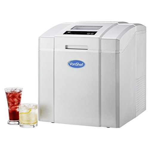 VonShef Counter Top Ice Maker, Produces 40 lbs Of Ice Per 24hs, Stainless Steel, Includes Ice Scoop, No Plumbing...