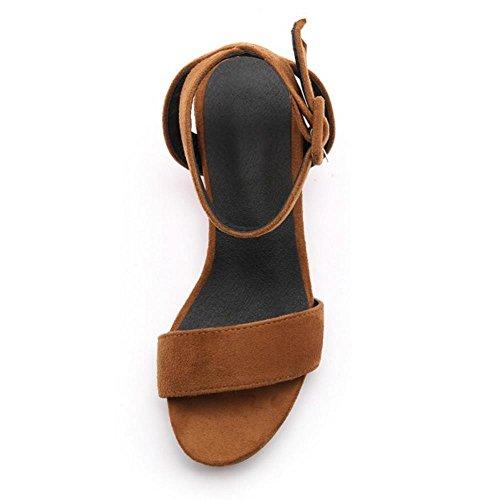 TAOFFEN Mujer Moda Tacon Ancho Punta Abierta Talon Abierto Sandalias Tacon Medio Zapatos para Mujeres Amarillo