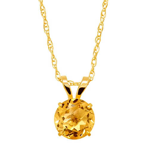 Gold Round Citrine Pendant (5/8 ct Round-Cut Natural Citrine Round-Cut Solitaire Pendant Necklace in 10K Gold)