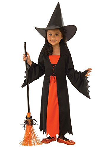 Rubie's Costume Co Girls Witch Costume, Black/Orange, Small -
