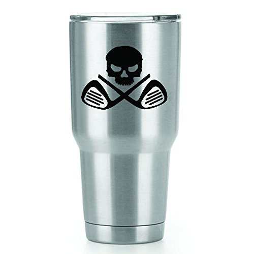 Skull Golf Clubs Vinyl Decals Stickers ( 2 Pack!!! ) | Yeti Tumbler Cup Ozark Trail RTIC Orca | Decals Only! Cup not Included! | 2 - 4 X 3 inch Black Decals | KCD1095