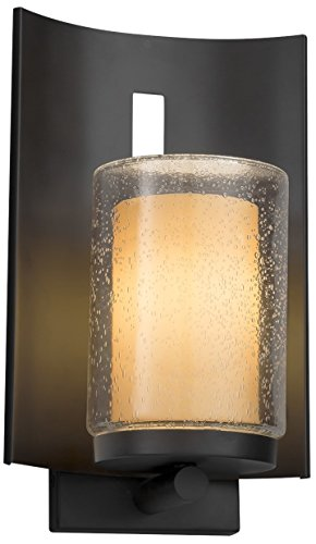 Justice Design Group Lighting FSN-7591W-10-ALMD-NCKL Fusion Embark 1-Light Outdoor Wall Sconce-Brushed Nickel Finish with Artisan Glass Almond-Cylinder with Flat Rim Shade