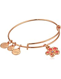 Women's Color Infusion, Tropical Flower Bangle Bracelet, Shiny Rose, Expandable