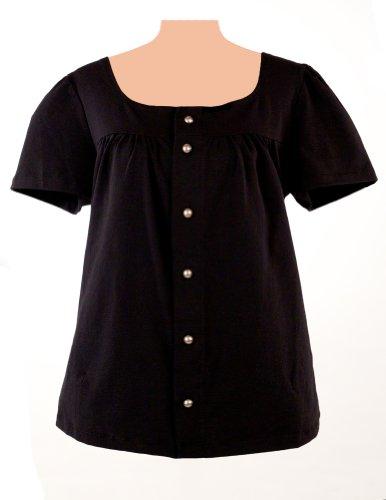 Post-op Top Lesa Short Sleeve Shirt (Medium, Black)